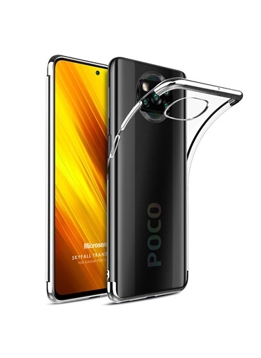 Microsonic Xiaomi Poco X3 Pro Kılıf Skyfall Transparent Clear Gold Gümüş